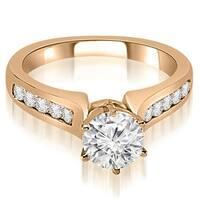 0.80 cttw. 14K Rose Gold Channel Set Round Cut Diamond Engagement Ring HI, SI1-2