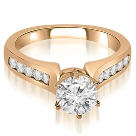 0.80 cttw. 14K Rose Gold Channel Set Round Cut Diamond Engagement Ring HI, SI1-2