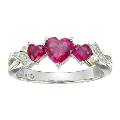 1 5/8 ct Heart-Cut Created Ruby Twist Ring with Diamonds in Sterling Silver and 14K Gold