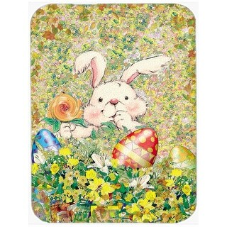 Carolines Treasures Easter Bunny & Eggs Glass Large Cutting Board