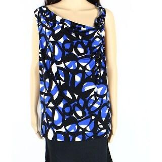 Calvin Klein NEW Blue Black Women's Size 2X Plus Drape Cowl Neck Blouse