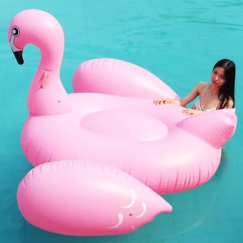 ALEKO Water Inflatable Flamingo Pool Float with Grip Handles