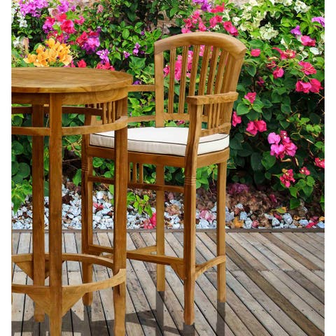 Chic Teak Orleans Teak Wood Indoor/ Outdoor Bar Stool Chair With Arms