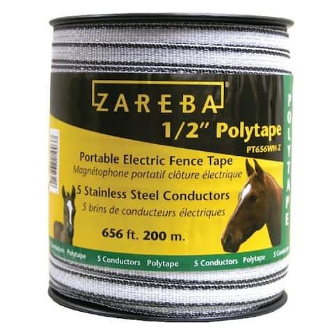 "Zareba PT656WH-Z Electric Fence Polytape, 200 Meter, 1/2"""
