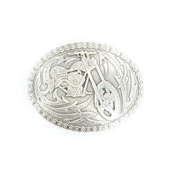 Crumrine Western Belt Buckle Oval Motorcycle Chain Edges Silver - 2 3/4 x 3 3/4