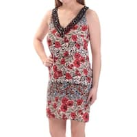 B DARLIN Womens Red Floral Sleeveless V Neck Above The Knee Shift Dress Juniors  Size: 0