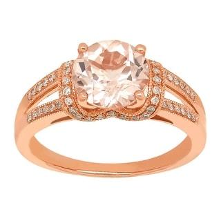1 7/8 ct Natural Morganite & 1/5 ct Diamond Ring in 14K Rose Gold - Pink