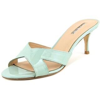 Charles By Charles David Nadira Women Open Toe Patent Leather Blue Slides Sandal