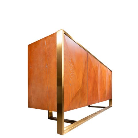 """Statements By J Wood Storage Cabinet, 72.5 Inch Long, Brown and Gold - 19""""W x 72.5""""L x 32""""H"""