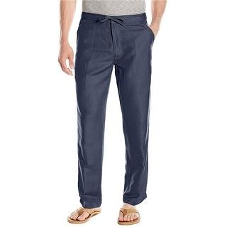 Cubavera Essentials Linen Blend Drawstring Pants Dress Blues XX-Large - 44