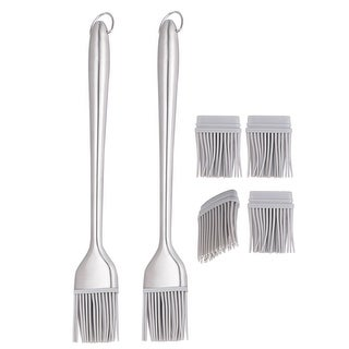 2 Set 12 Inch Length Silicone Brush Heat Resistant Stainless Steel Handle Kitchen Cookware Basting Gadgets Accessories Gray