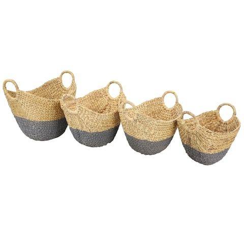 Gray Dip-Dyed Water Hyacinth Wicker Storage Baskets Set of 4 - 19 x 14 x 18