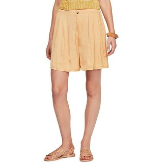 Free People Womens Pleated Front Walking Dress Shorts, yellow, Small