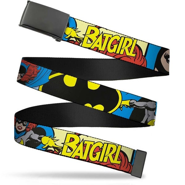 Blank Black Buckle Batgirl In Action W Face Close Up Webbing Web Belt