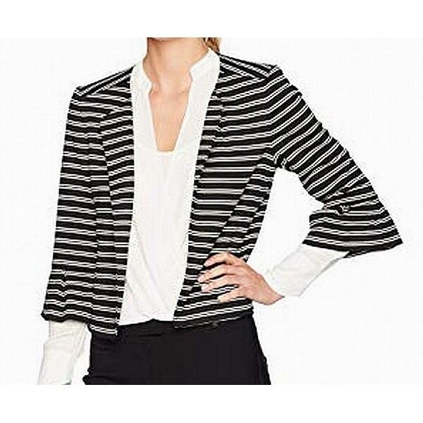 Nine West Black White Womens Size 4 Striped Open Front Jacket