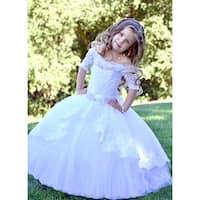 Triumph Dress Girls White Lace Tulle Train Scarlet Flower Girl Dress