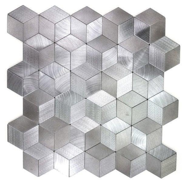 "Miseno MT-WHSEHMKLD-SI Enchanted Metals - 1"" x 2"" Cubed Wall Mosaic Tile - Polished Metal Visual - Silver"