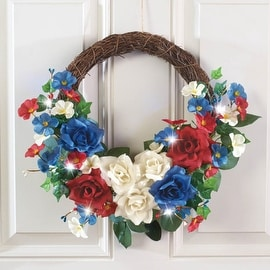 LED Lighted Vintage Floral Patriotic Wreath