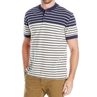 Nautica NEW Beige Blue Mens Size Large L Polo Rugby Stripe Shirt