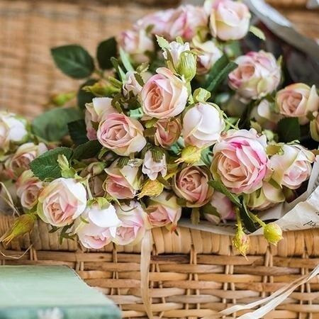 "RusticReach Small Rose Bloom Stem in Light Pink 25"" Tall"