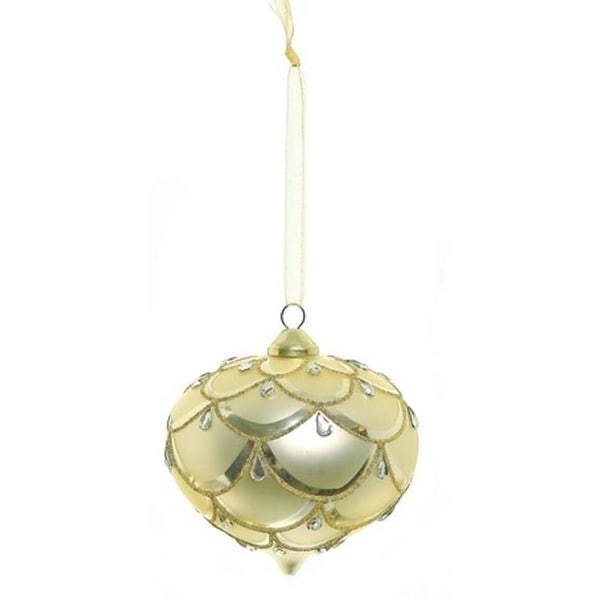 """4"""" Glamour Time Gold Onion Glitter and Gem Draped Glass Christmas Ornament"""
