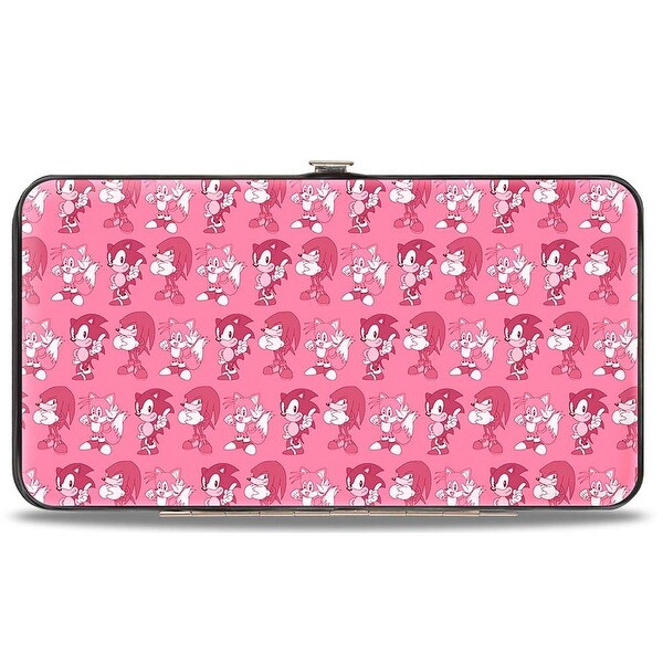 Sonic Classic Sonic Knuckles Tails Pose Repeat Pinks Hinged Wallet - One Size Fits most