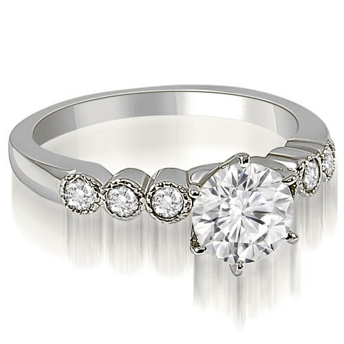 0.70 cttw. 14K White Gold Vintage Style Milgrain Round Diamond Engagement Ring