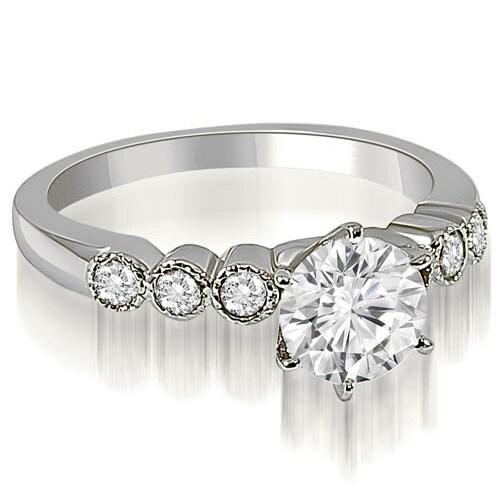 0.95 cttw. 14K White Gold Vintage Style Milgrain Round Diamond Engagement Ring
