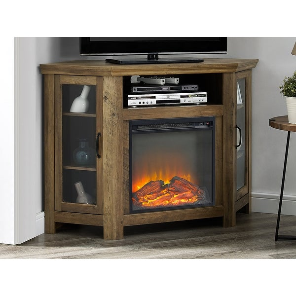 Shop Offex 48 Quot Wood Corner Fireplace Media Tv Stand