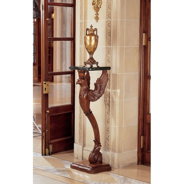 Design Toscano The Griffin of Hanover Pedestal with Marble Top - 17 x 14 x 47