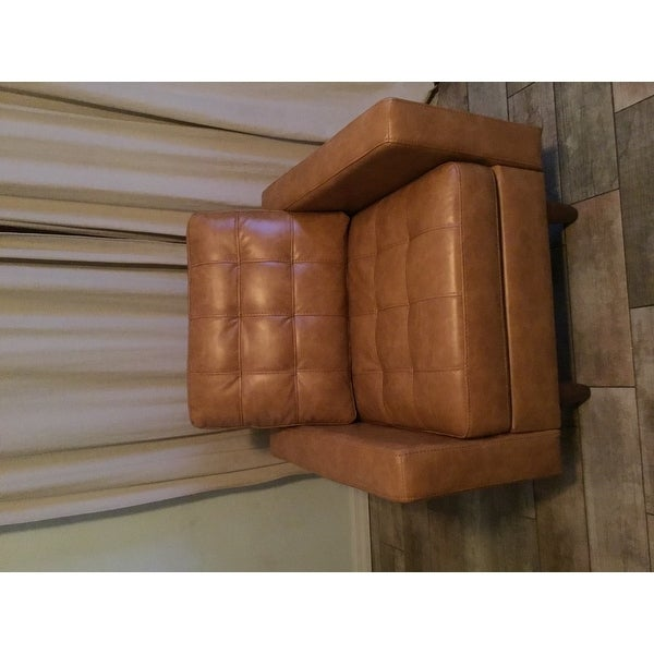 Leather Accent Chairs Metal Legs Caramel.Shop Odin Caramel Leather Gel Accent Chair By Inspire Q Modern