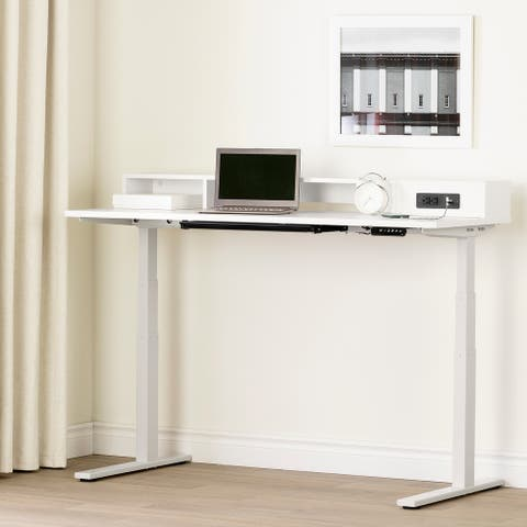 South Shore Majyta Adjustable Height Standing Desk with Built In Power Bar