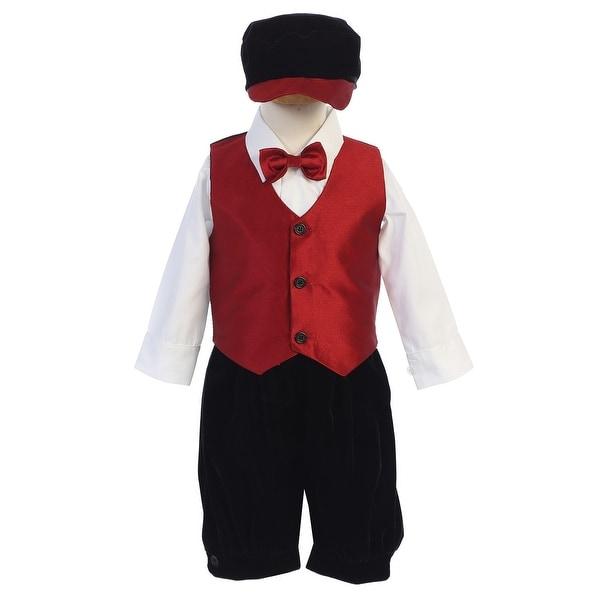 74e6d8976 Shop Lito Little Boys Black Red Vest Shirt Bowtie Velvet Knickers Hat 5 Pc  Set - Free Shipping Today - Overstock - 23542116