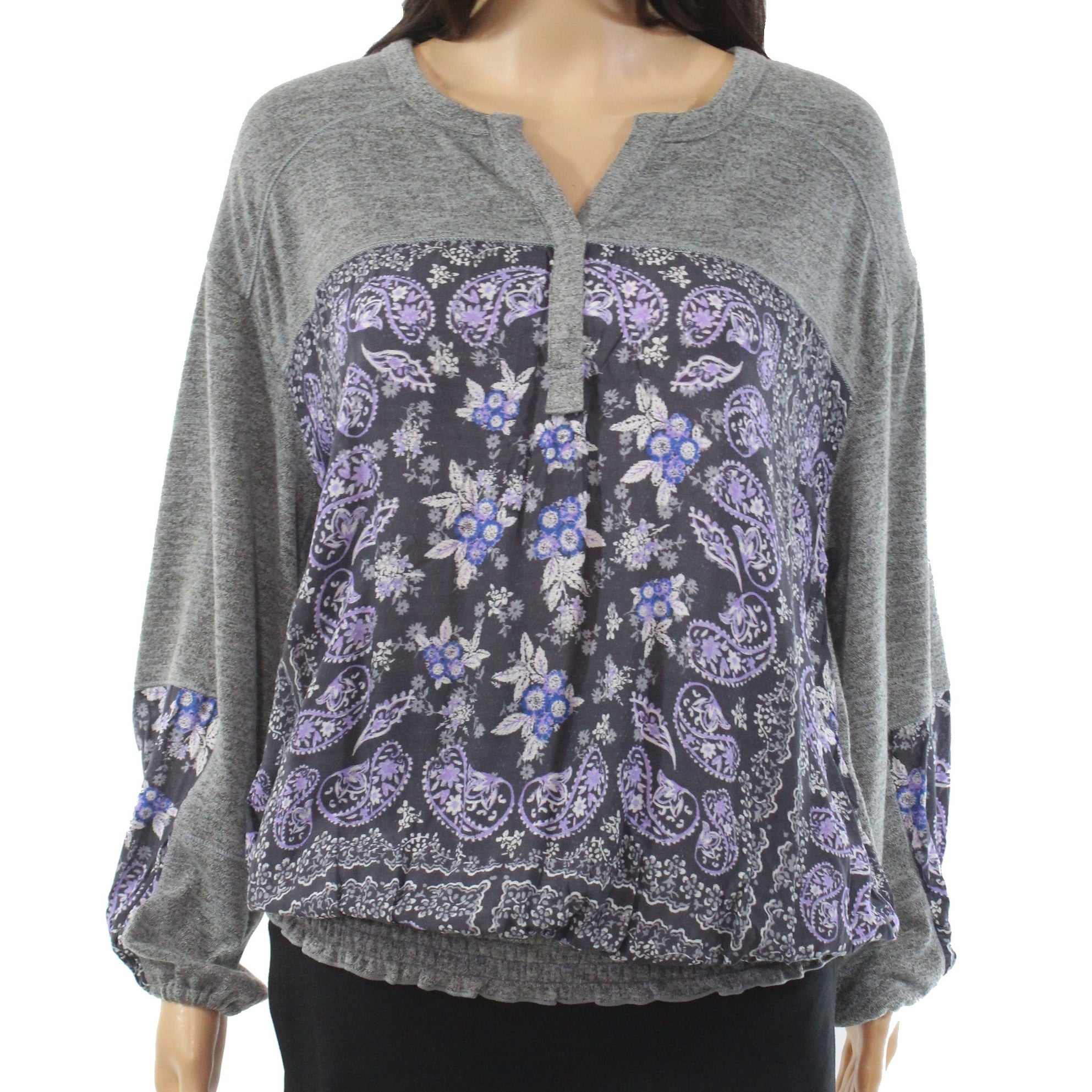 Womens Top Gray Size 1X Plus Paisley Smocked Split-Neck $59 316 Style /& Co
