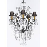 Wrought Iron Empress Crystal Chandelier Lighting H32 x W21