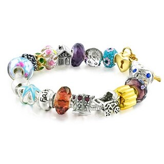 Bling Jewelry 925 Sterling Silver Mothers Charm Bracelet