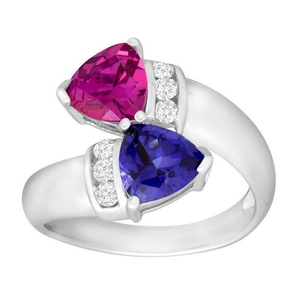 4 1/3 ct Created Ceylon & Purple Sapphire Bypass Ring in Sterling Silver - Blue