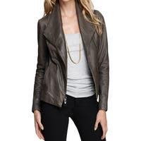 Vince Camuto Womens Bomber Jacket Leather Knit Trim
