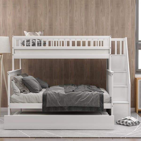 Merax Twin Over Full Wood Bunk Bed With Trundle And Storage Stairs