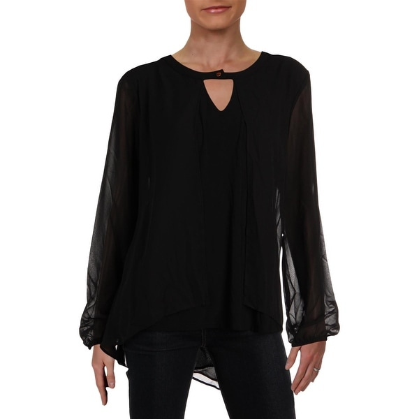 NY Collection Womens Blouse Keyhole Long Sleeve