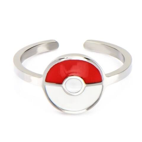 Pokemon Pokeball Red/White Stainless Steel Women's Ring, Size 8