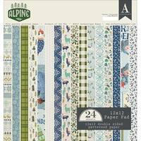 "Alpine; 12 Designs/2 Each -Authentique Double-Sided Cardstock Pad 12""X12"" 24/Pkg"