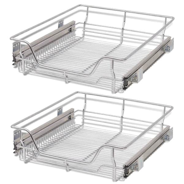 Shop vidaXL 2x Pull-Out Wire Basket 19.7\