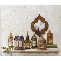 Set of 6 Glass and Metal Candle Lanterns -  Classic European Architectural Houses
