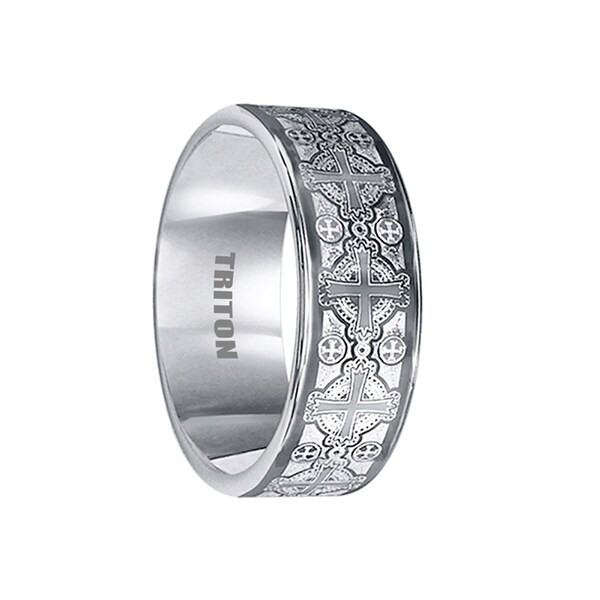 AXEL Flat Tungsten Ring with Laser Engraved Celtic Crosses by Triton Rings - 8mm