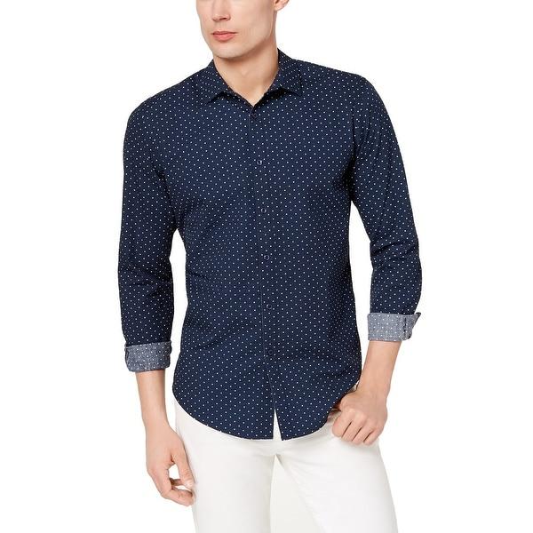 1db9f2e6a43 Shop INC Navy Blue Mens Size Medium M Seersucker Button Down Shirt ...