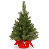 2' Green Majestic Fir Artificial Christmas Tree in Red Cloth Bag - Unlit - 2 Foot