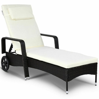 Gymax Rattan Chair Patio Chaise Lounge with Cushion Disassembly Bed W/Wheel Brown