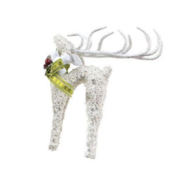 "6"" Snow Drift Noble White Glass Beaded Reindeer Christmas Ornament"