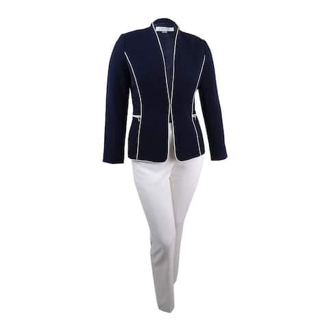 Tahari ASL Women's Petite Zip-Pocket Piped Pantsuit - Navy/Cloud